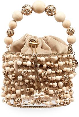 Rosantica Rea Beaded Filigree Cage Clutch Bag