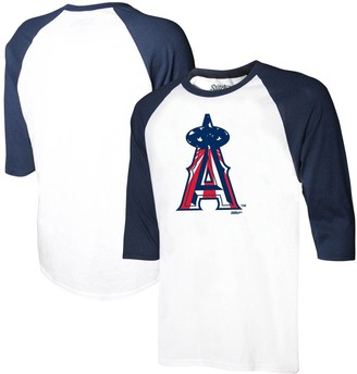 Stitches Youth White/Navy Los Angeles Angels Stars & Stripes American Raglan 3/4-Sleeve T-Shirt