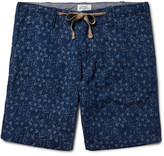 Hartford Slim-Fit Indigo-Dyed Floral Cotton-Jacquard Shorts