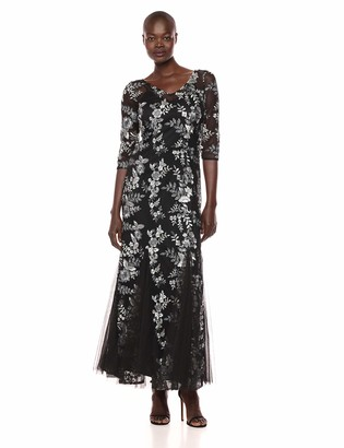 Alex Evenings Women's Long Embroidered Fit and Flare Dress Black/Grey 16