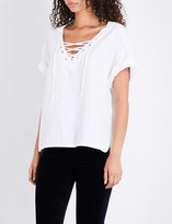 AG Jeans The Kelly lace-up twill top