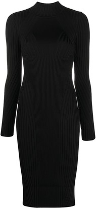 Versace Ribbed Knit Fitted Dress