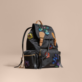 Burberry The Large Rucksack in Technical Nylon with Sequinned Flowers