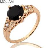 AYT_Rings AYT New Fashion Classic Rings 18K Gold Plating Black Crystal Zircon Ring Shiny Elegant Beauty Jewelry 5.0