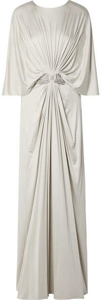 Reem Acra Draped Embellished Silk-jersey Maxi Dress - Silver