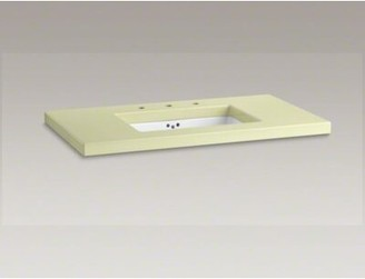 """Kohler Kathryn 42"""" x 22"""" Enameled Lavastone Tabletop Drilled with 10"""" Centers and Cut for K-2297-G Under-Mount Bathroom Sink Top Finish: Citron"""