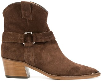 Via Roma 15 Pointed Toe Block Heel Ankle Boots