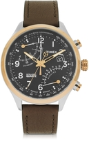 Timex Fly Back Chrono Stainless Steel Case and Leather Strap Men's Watch