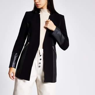 River Island Womens Black blocked panel zip pocket blazer