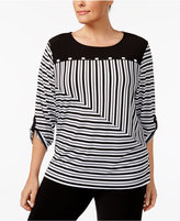 Alfred Dunner Plus Size Saratoga Collection Striped Roll-Tab Top