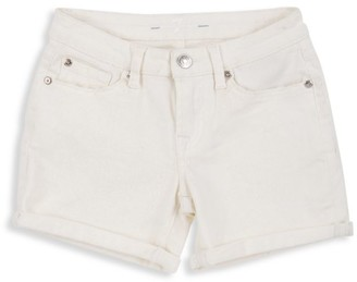 7 For All Mankind Girl's Rolled Cuff Denim Shorts