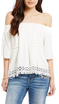 Miss Me Off-The-Shoulder Lace Inset Fray Hem Top
