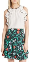 Kate Spade Women's Sleeveless Silk Ruffle Top