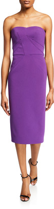 Zac Posen Strapless Sweetheart Midi Dress
