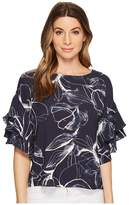 Vince Camuto Tiered Ruffle Sleeve Fresco Petals Blouse Women's Blouse