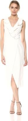 Keepsake Women's Miss ME Ruffle Detail V Neck SLEEVEESS MIDI Dress with Slit