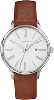 Junghans 047/4566.00 Meister Damen Stainless Steel Leather Strap Watch, Tan/white