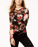 Material Girl Juniors' Ruched Rose-Print Mesh Top, Created for Macy's