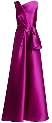 Alberta Ferretti Mikado Silk Sleeveless Bow Ball Gown