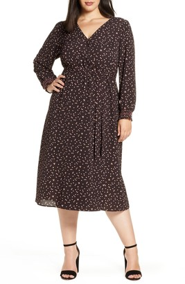 Bobeau Faun Long Sleeve Midi Wrap Dress
