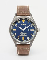 Timex Waterbury Leather Watch In Brown TW2P83800