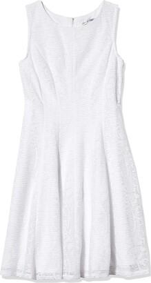 Sandra Darren Women's 1 PC Extended Shoulder Burn Out Lace Fit & Flare Dress