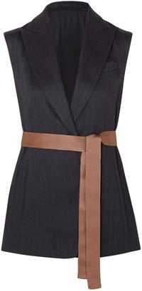 Brunello Cucinelli Belted Silk-faille Trimmed Herringbone Cotton-blend Vest