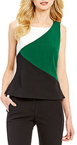Kasper Abstract Cropped Split Hem Sleeveless Blouse
