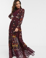Frock and Frill long sleeve embroidered maxi dress