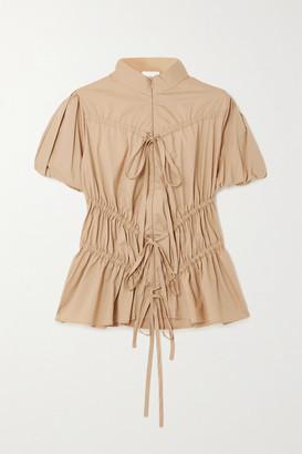 Renaissance Renaissance Crimes Tie-detailed Ruched Cotton-blend Top - Camel