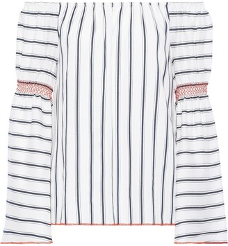 Charli Nelia Off-the-shoulder Striped Jacquard Top