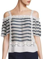 Alberta Ferretti Striped Off-The-Shoulder Blouse