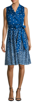 Anne Klein Printed Dots Notch Lapel Wrap Dress