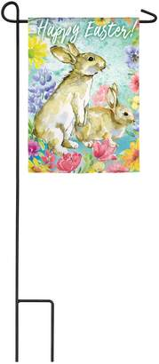 Evergreen Easter Bunnies Organza Garden Flag