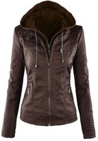 Roundshop Women's Fashion Hooded Faux Leather Motorcycle Jacket L