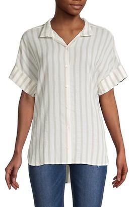 Frame Stripe High-Low Short-Sleeve Shirt