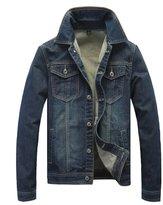 AvaCostume Men's Vintage Casual Trucker Denim Jacket, DarkBlue, XL