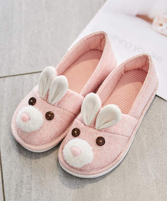 Dudu Town TOWN Women's Slippers Pink - Pink Bunny Cotton Slipper - Women
