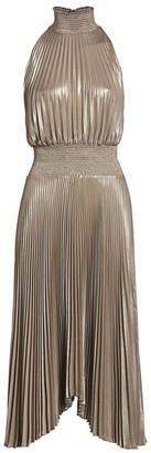 A.L.C. Renzo Pleated Metallic Halter Dress