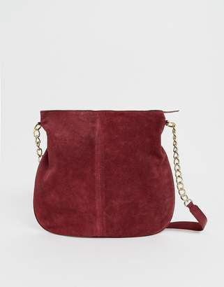 Asos Design DESIGN suede shopper bag with chain strap-Red