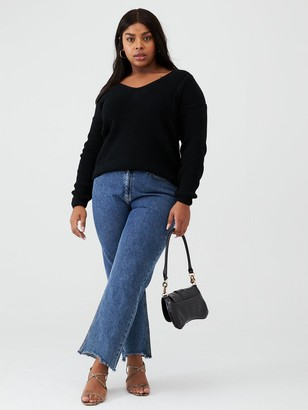 V By Very Curve Lace Back Knitted Jumper - Black