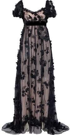 Dolce & Gabbana Floral-Appliquéd Sequined Leavers Lace Gown