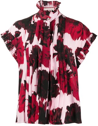 Alexandre Vauthier Floral Print Ruffle Neck Shirt