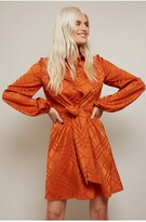 Thumbnail for your product : Little Mistress Patty Check Patterned Satin Shirt Dress With Tie Waist