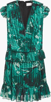 Victoria Victoria Beckham Ruffled Printed Voile Mini Dress