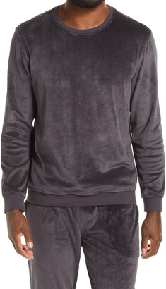 Daniel Buchler Burnout Velour Long Sleeve Lounge Shirt