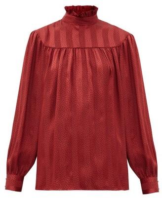 Saint Laurent Polka-dot Self-striped Silk-satin Blouse - Red