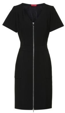 HUGO BOSS V Neck Short Sleeved Dress With Front Zipper - Black