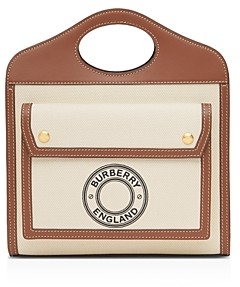 Burberry Mini Logo Graphic Canvas & Leather Pocket Bag