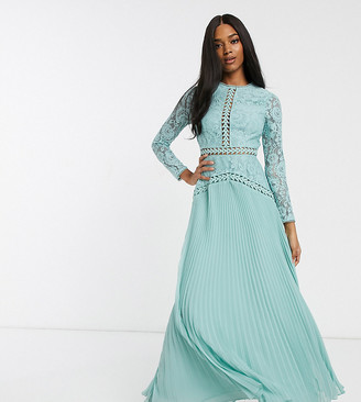 Asos Design DESIGN lace maxi dress with trim inserts and pleated skirt-Blue